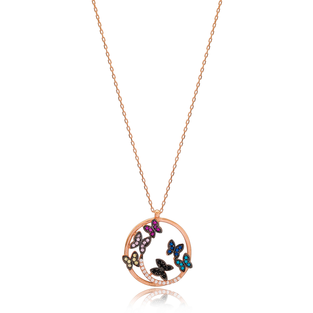 Hollow Minimalist Colorful Butterfly Charm Wholesale Turkish 925 Sterling Silver Necklace
