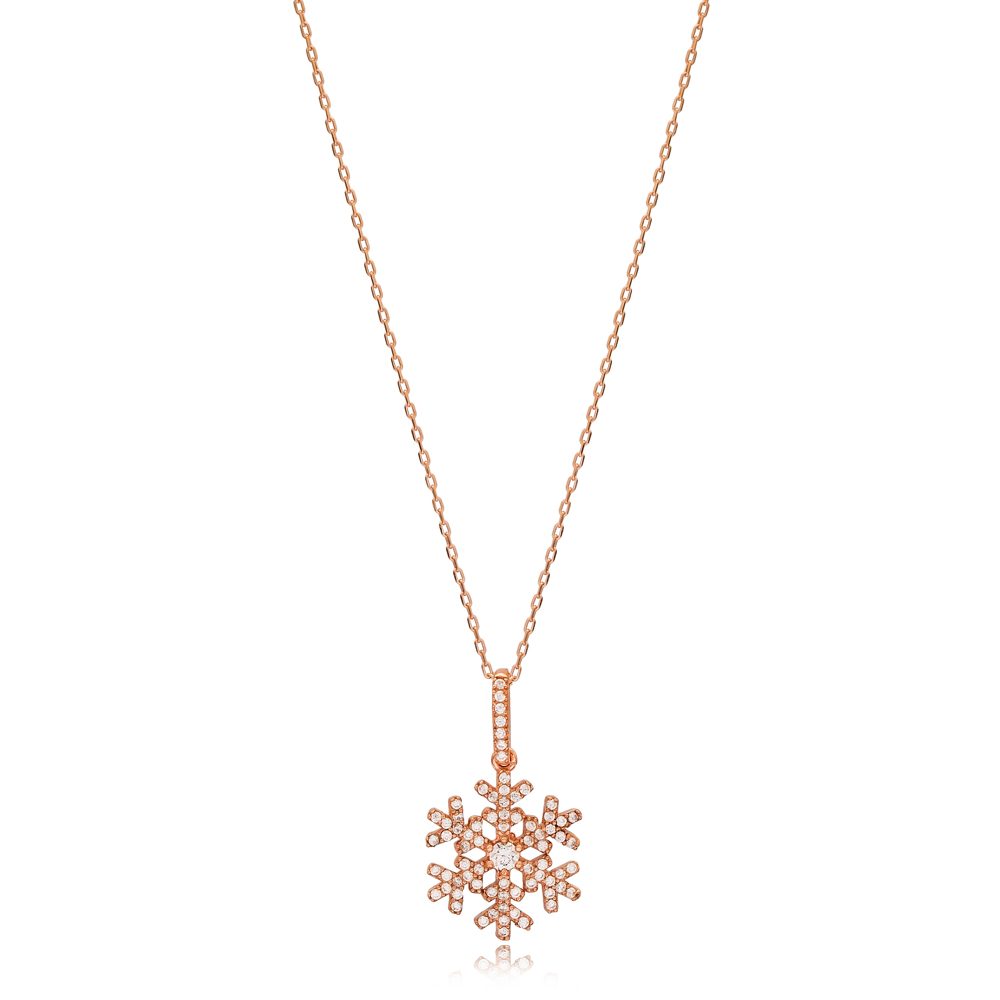 Elegant Snowflake Design Charm Necklace Wholesale Turkish 925 Sterling Silver Jewelry