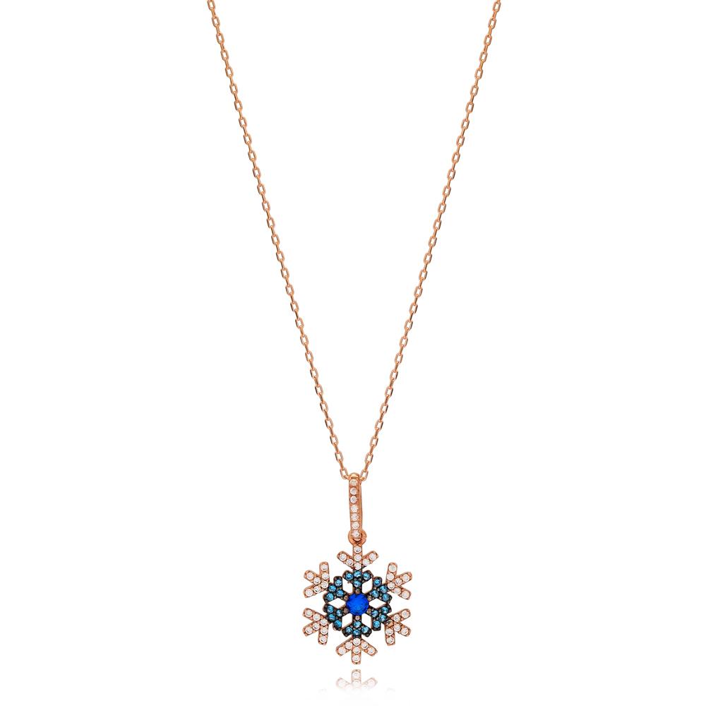 Multi Stone Unique Snowflake Design Charm Necklace Wholesale Turkish 925 Sterling Silver Jewelry