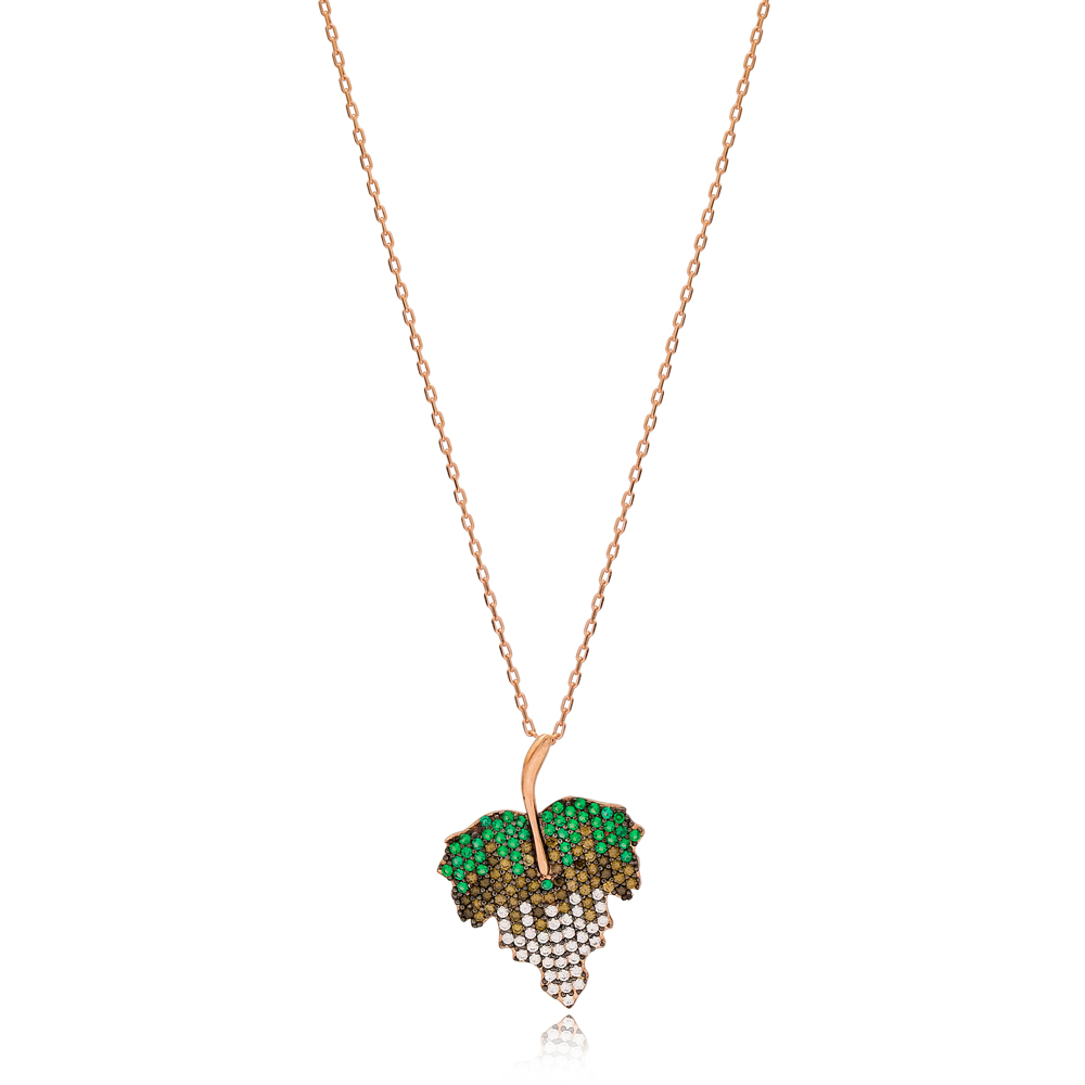 Multi Stone Leaf Design Charm Necklace Wholesale Turkish 925 Sterling Silver Jewelry