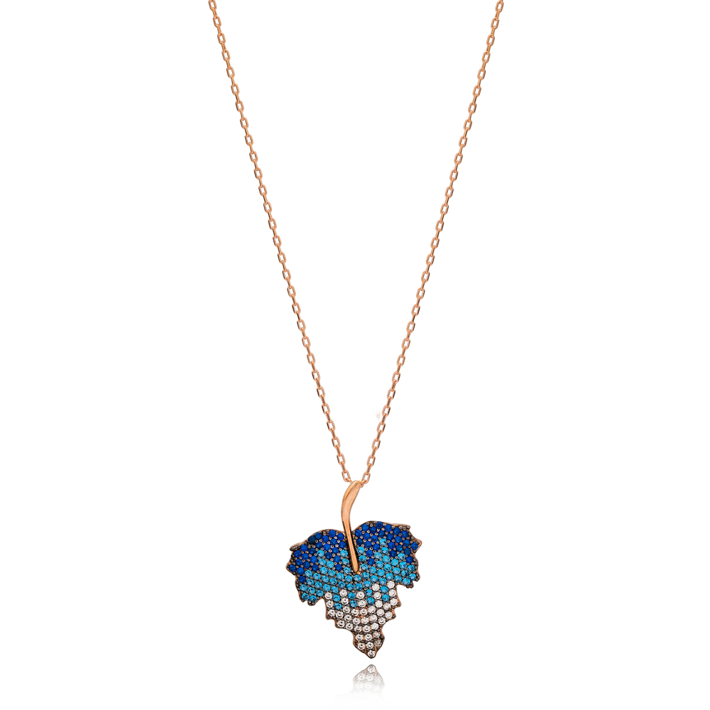 Mix Blue Stone Leaf Design Charm Necklace Wholesale Turkish 925 Sterling Silver Jewelry