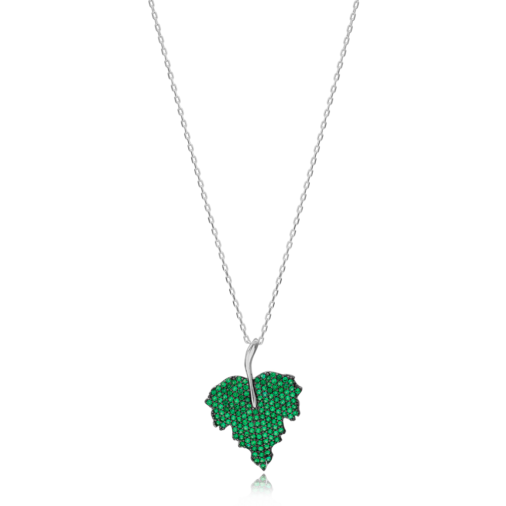 Emerald Stone Leaf Design Charm Necklace Wholesale Turkish 925 Sterling Silver Jewelry
