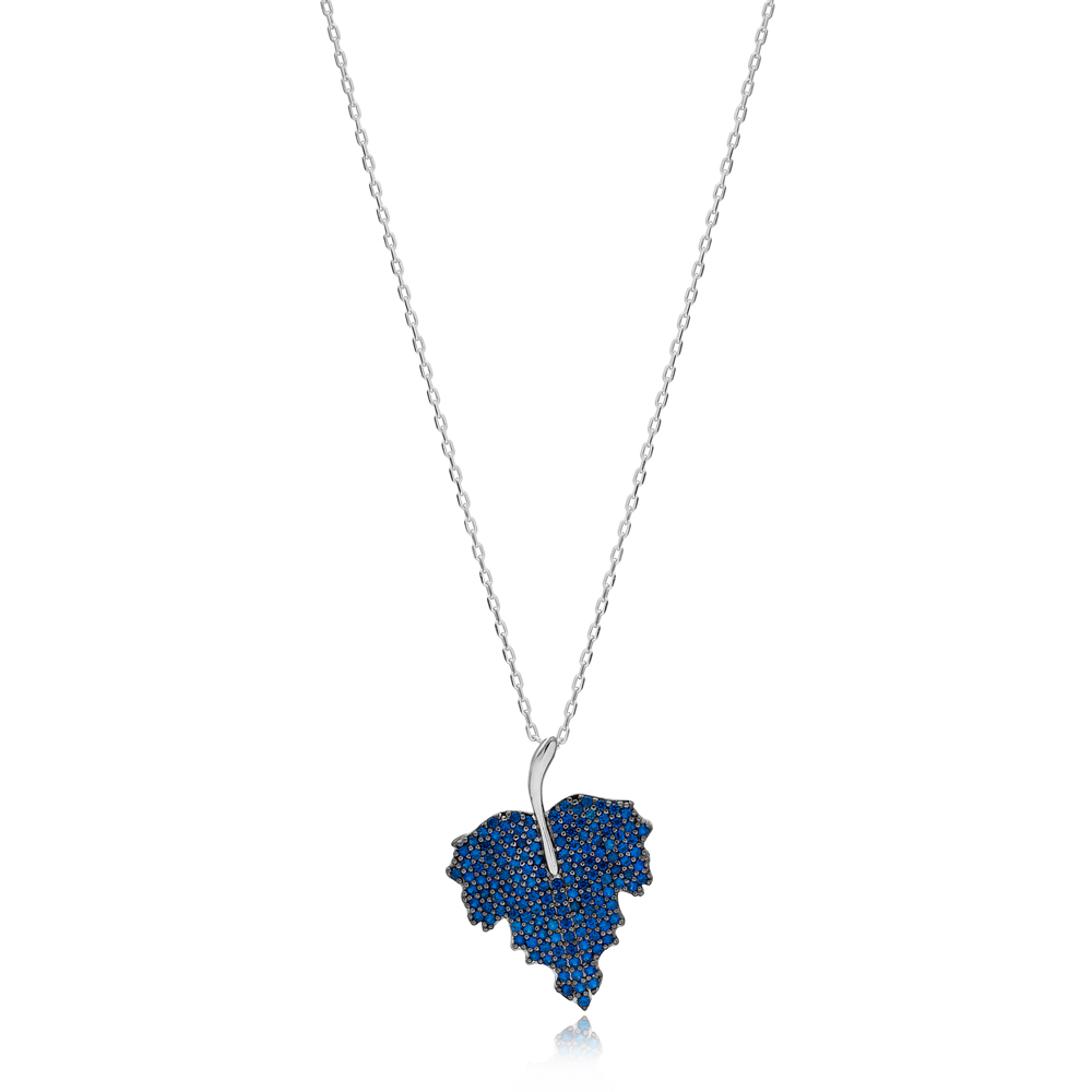 Sapphire Stone Leaf Design Charm Necklace Wholesale Turkish 925 Sterling Silver Jewelry