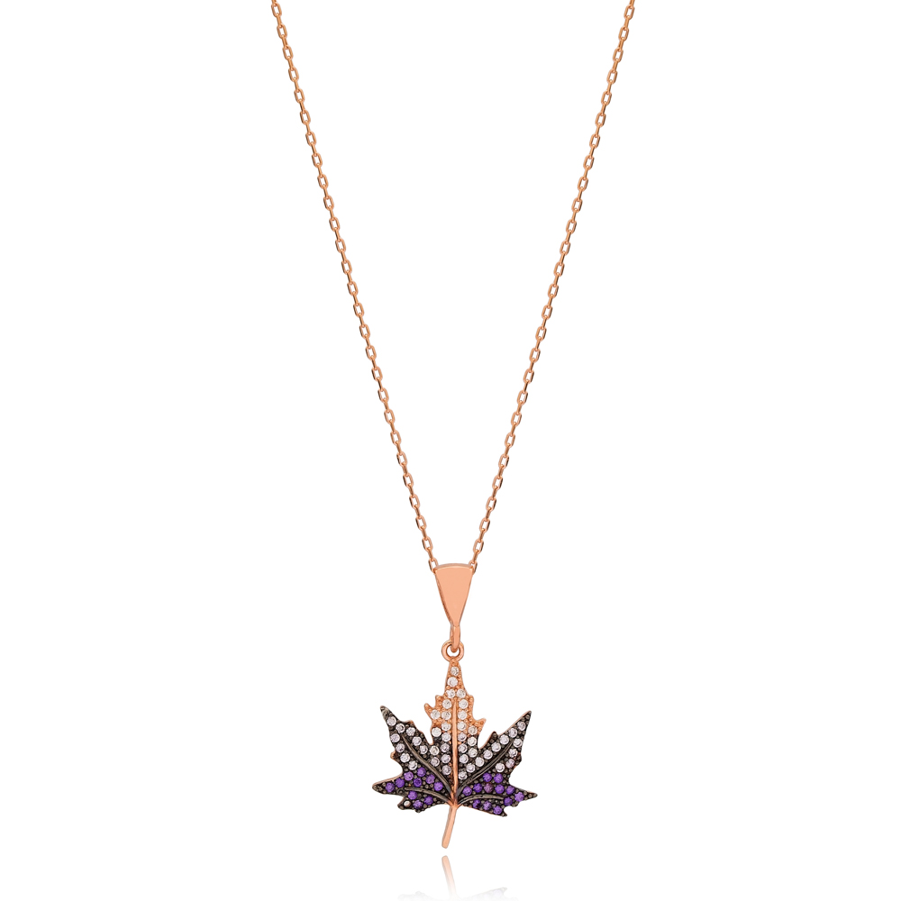 Fashionable Leaf Design Charm Necklace Wholesale Turkish 925 Sterling Silver Jewelry