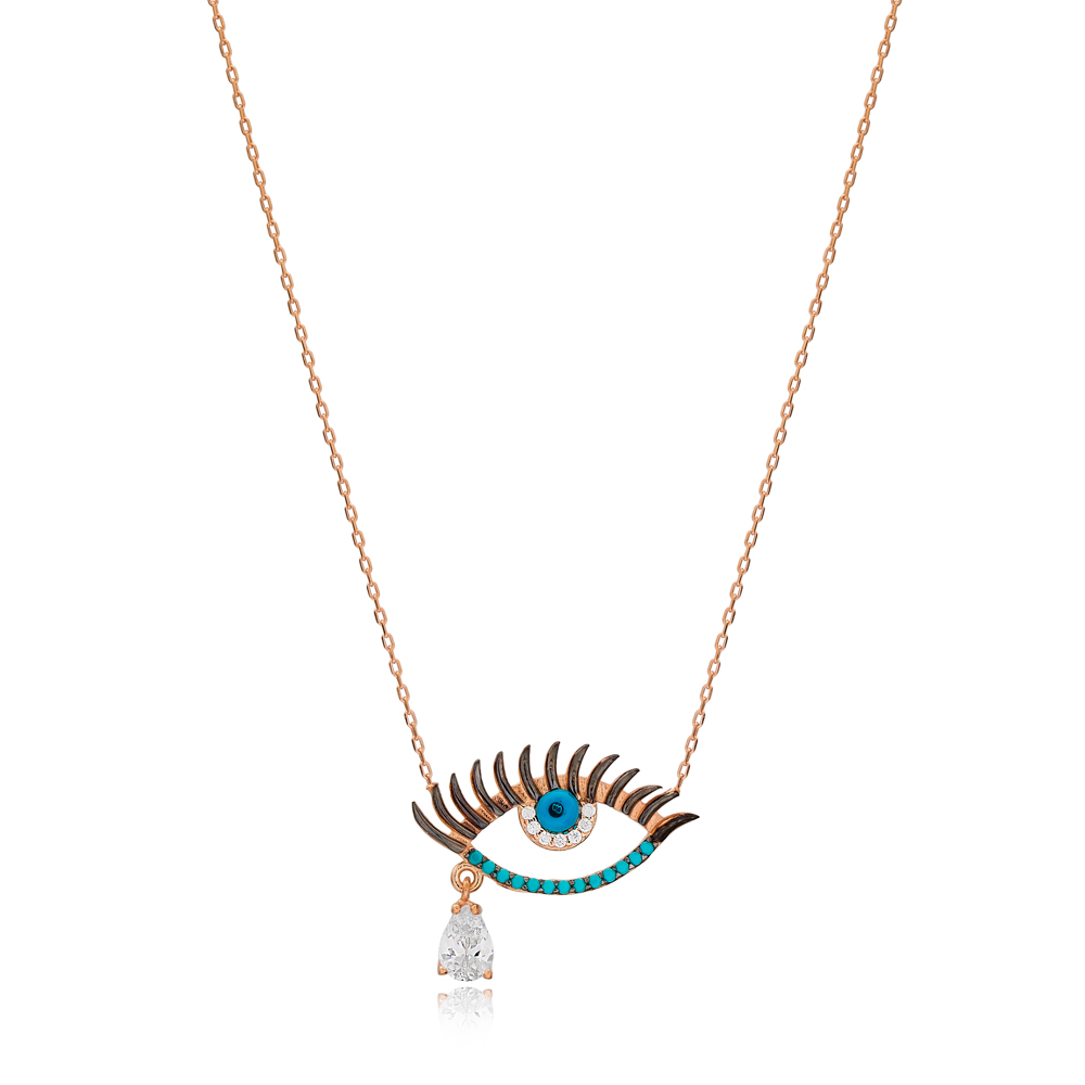 Turquoise Stone Eye And Drop Cut Zircon Stone Design Charm Necklace Wholesale Turkish 925 Sterling Silver Jewelry