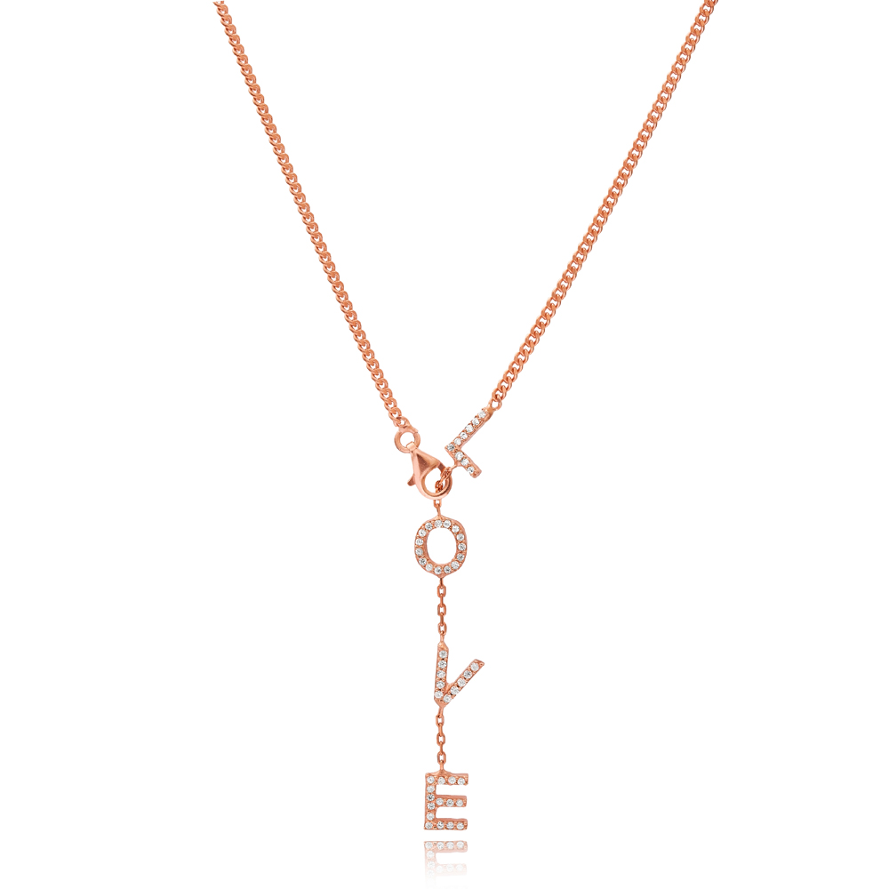 Minimal Love Dainty Design Silver Pendant Wholesale Turkish 925 Silver Sterling Necklace
