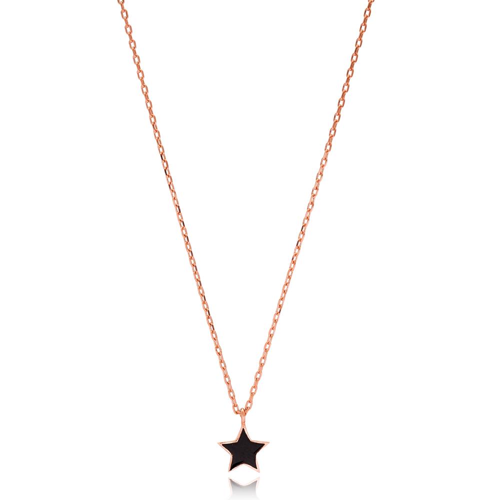 Simple Black Enamel Star Design Necklace Turkish Wholesale 925 Sterling Silver Jewelry