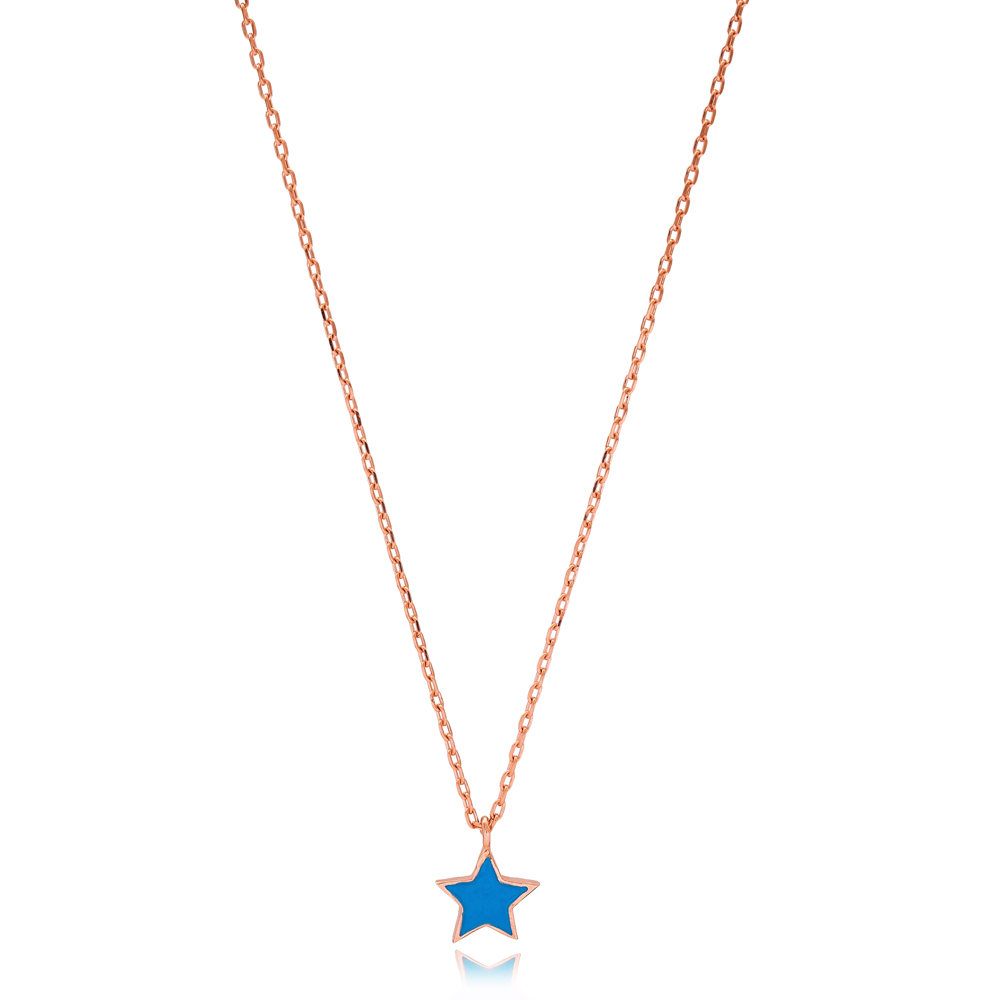 Elegant Blue Enamel Star Design Necklace Turkish Wholesale 925 Sterling Silver Jewelry