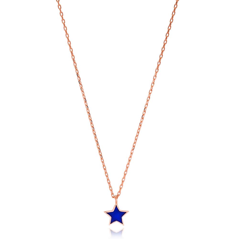 Dainty Navy Blue Enamel Star Design Necklace Turkish Wholesale 925 Sterling Silver Jewelry