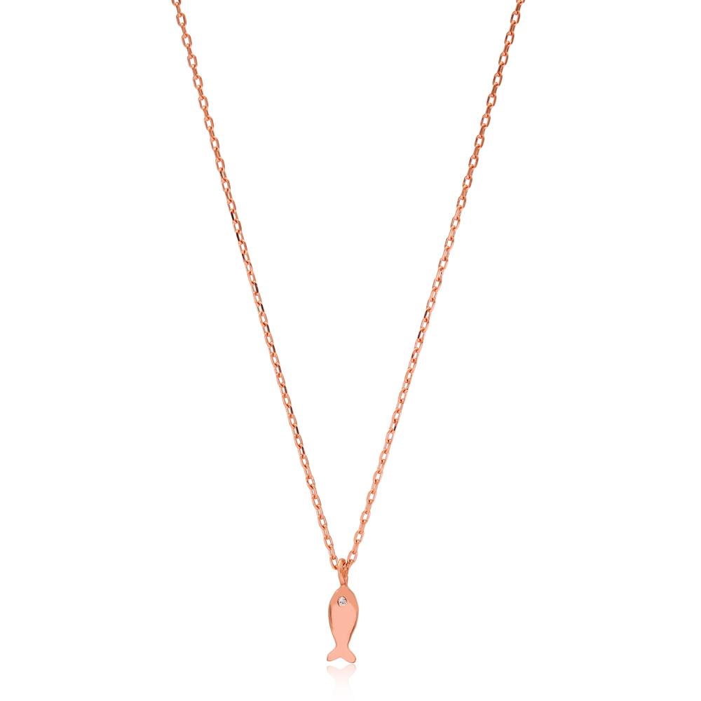 Zircon Stone Eye Fish Design Necklace Turkish Wholesale 925 Sterling Silver Jewelry