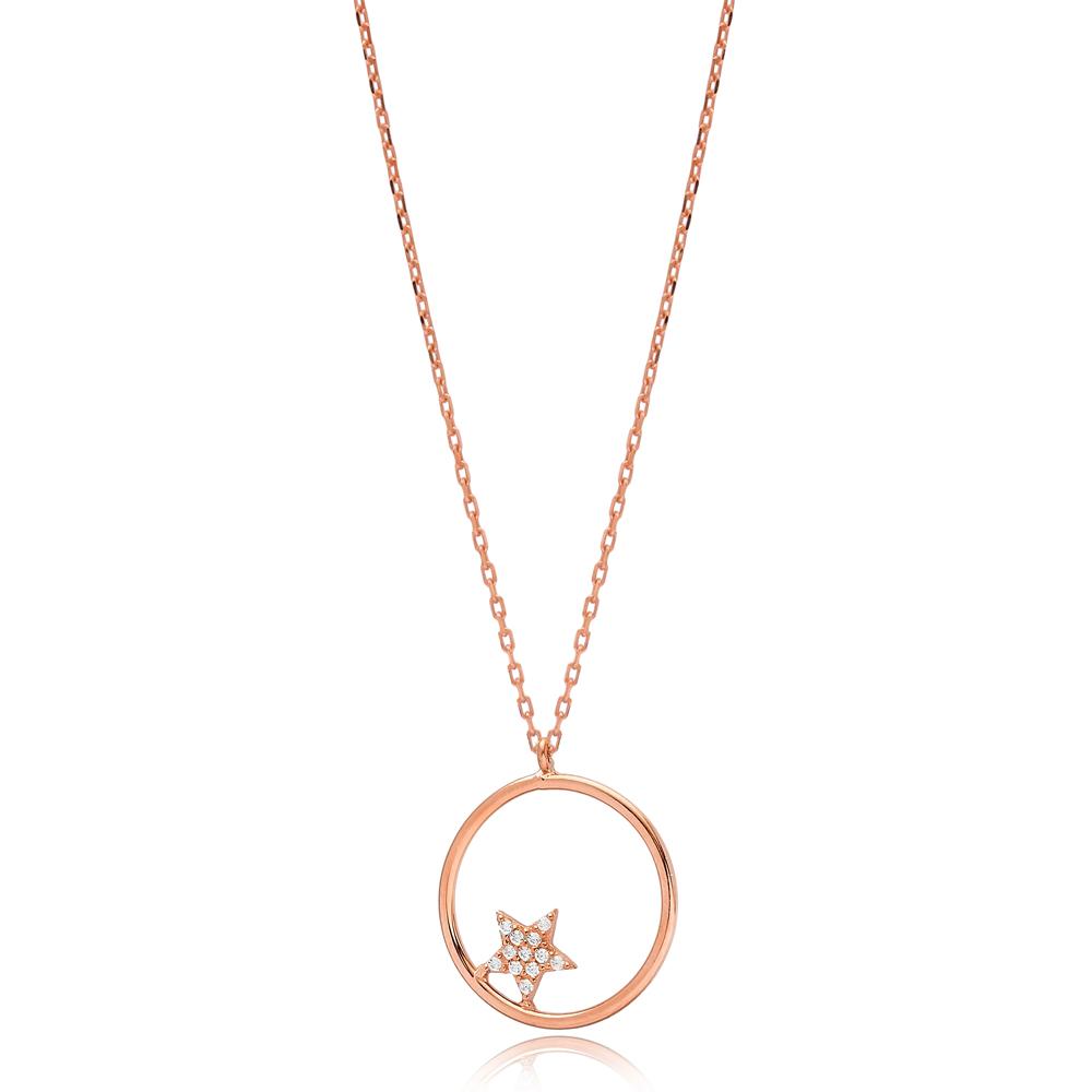 Hollow Minimalist Star Zircon Stone Charm Wholesale Turkish 925 Sterling Silver Necklace