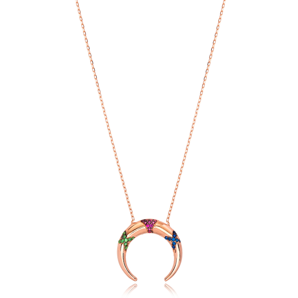 Unique Colorful Stone Moon Charm Necklace Wholesale Turkish 925 Sterling Silver Jewelry