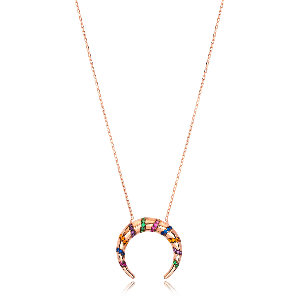 Elegant Colorful Stone Moon Charm Necklace Wholesale Turkish 925 Sterling Silver Jewelry