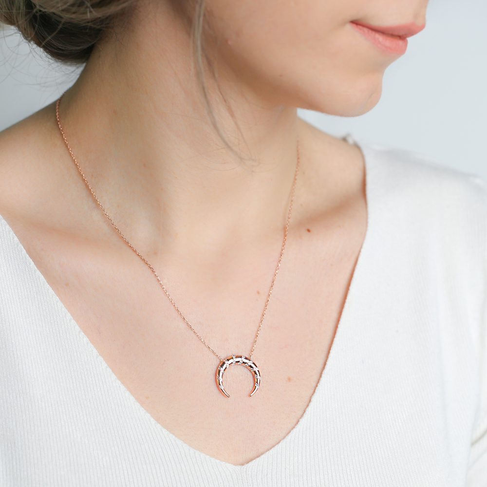 Dainty Zircon Stone Moon Charm Necklace Wholesale Turkish 925 Sterling Silver Jewelry