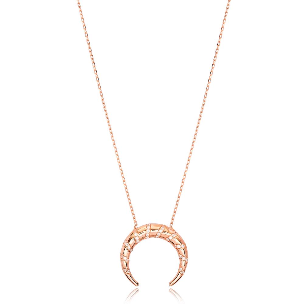 Dainty Zircon Stone Moon Charm Necklace Wholesale Turkish 925 Sterling Silver Jewelry