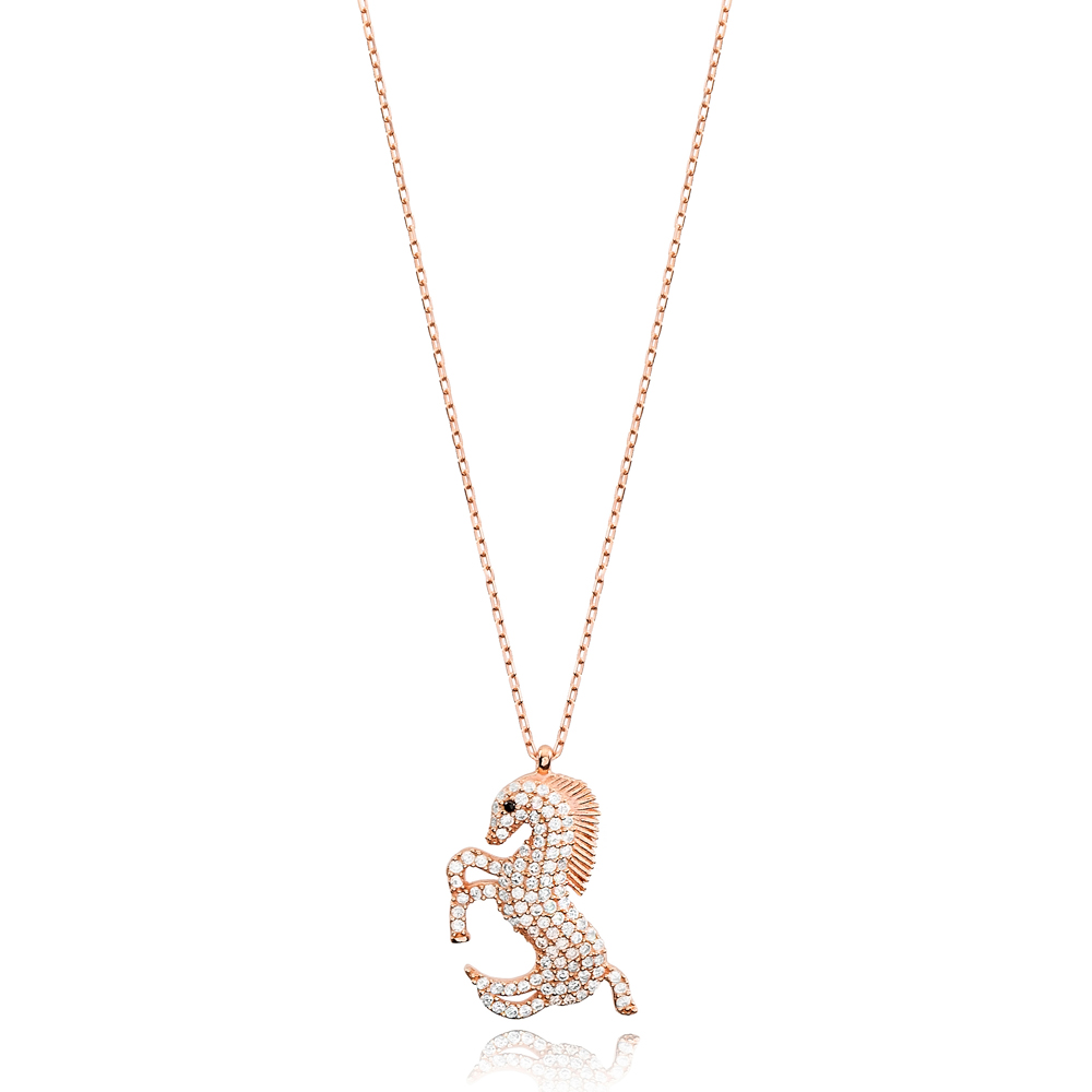 Horse Design Zircon Stone Charm Necklace Turkish Handmade Wholesale 925 Sterling Silver Jewelry