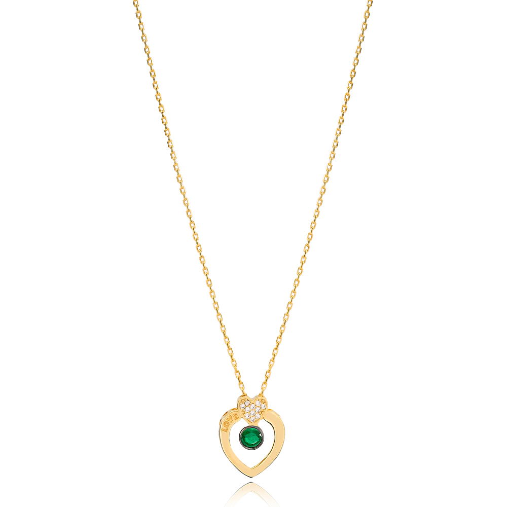 Love Letter Hearth Shape Emerald Stone Design Charm Necklace Wholesale Turkish 925 Sterling Silver Jewelry