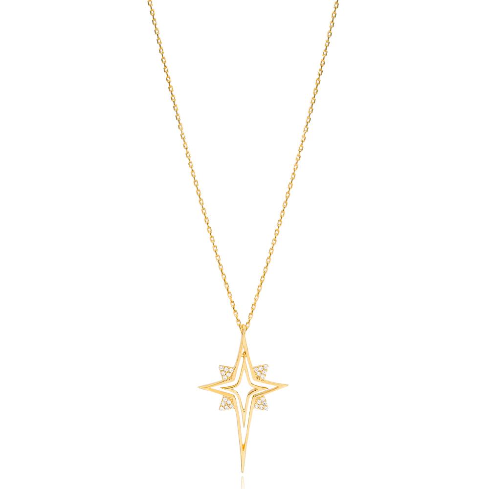 Unique North Star Design Zircon Stone Charm Necklace Wholesale Turkish 925 Sterling Silver Jewelry