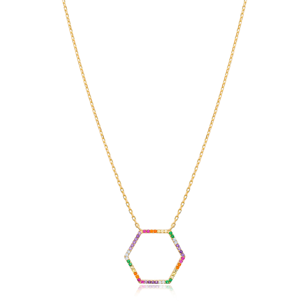Mix Stone Hexagon Design Pendant Turkish Wholesale 925 Sterling Silver Jewelry