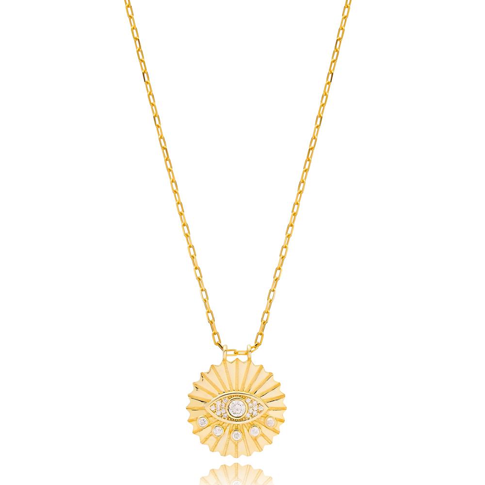 Round Evil Eye Design Zircon Charm Necklace Wholesale Turkish 925 Sterling Silver Jewelry