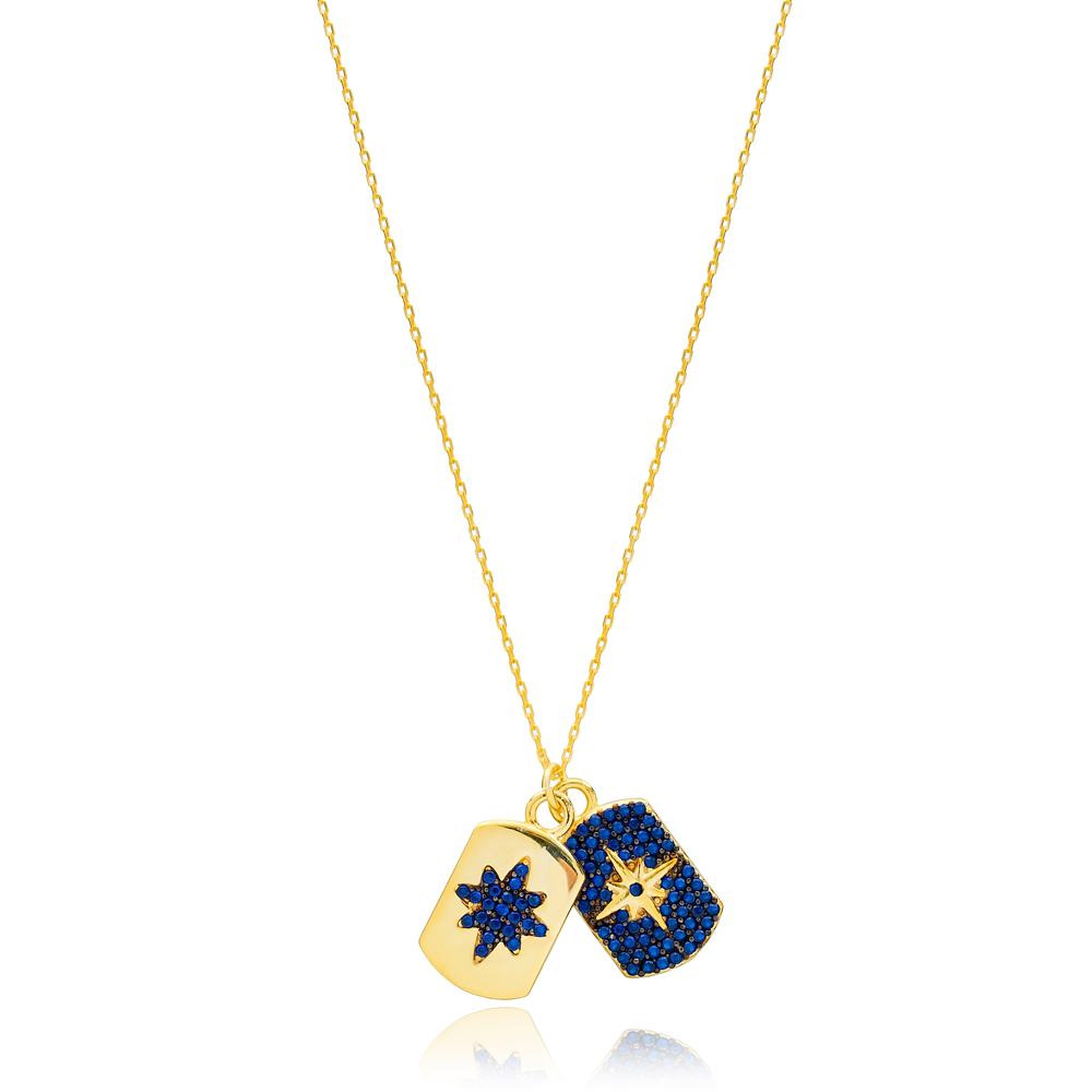 Dainty Design Sapphire Stone Two Charm Necklace Turkish Handmade 925 Sterling Silver Jewelry