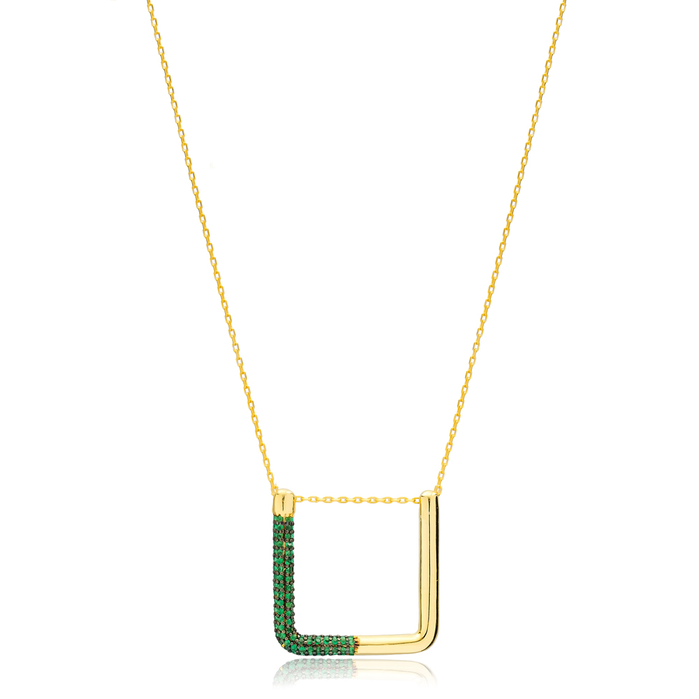 New Trend Unique Shape Emerald Necklace Turkish Handmade 925 Sterling Silver Jewelry