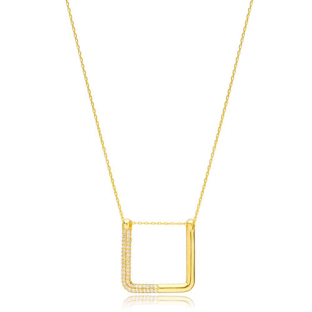 New Trend Unique Shape Zircon Necklace Turkish Handmade 925 Sterling Silver Jewelry