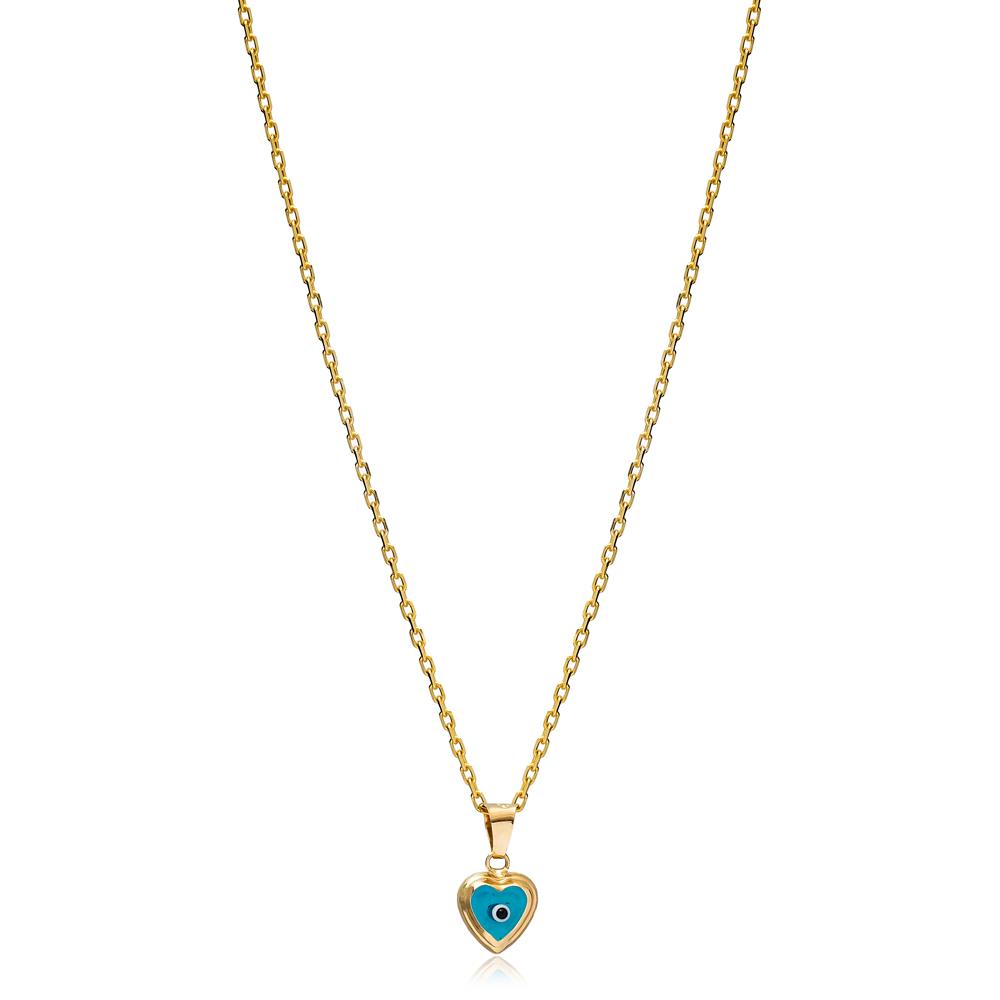 Evil Eye Heart Shape Charm Necklace Wholesale Turkish 925 Sterling Silver Jewelry