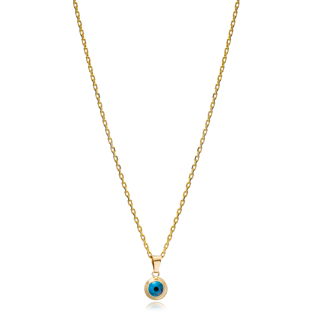 Minimalist Evil Eye Round Shape Charm Necklace Wholesale Turkish 925 Sterling Silver Jewelry