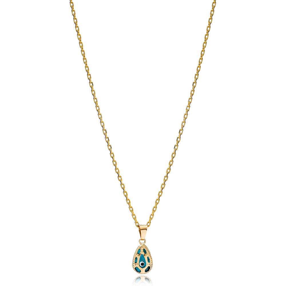 Minimalist Design Evil Eye Charm Necklace Wholesale Turkish 925 Sterling Silver Jewelry