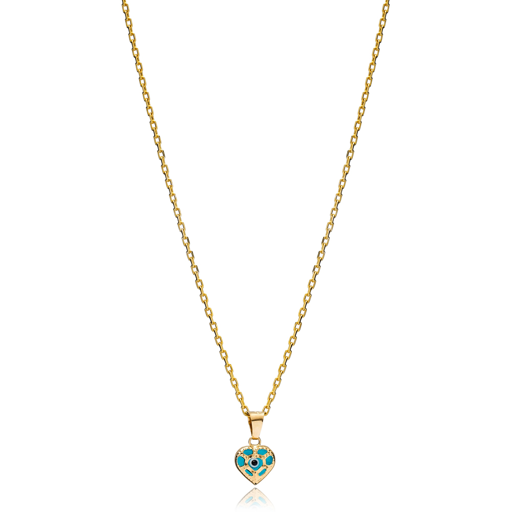 Heart Shape Evil Eye Charm Necklace Wholesale Turkish 925 Sterling Silver Jewelry
