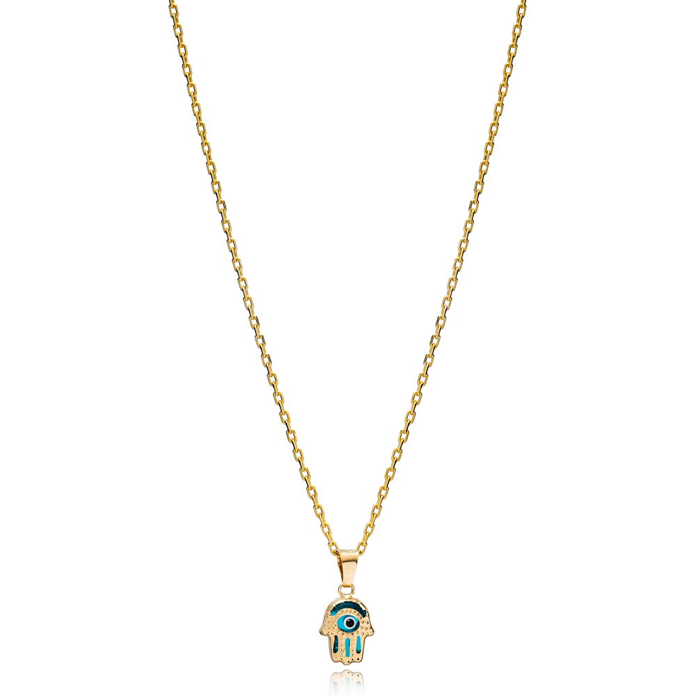 Hamsa Shape Evil Eye Charm Necklace Wholesale Turkish 925 Sterling Silver Jewelry