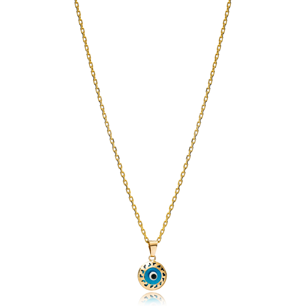 Round Shape Evil Eye Charm Necklace Wholesale Turkish 925 Sterling Silver Jewelry