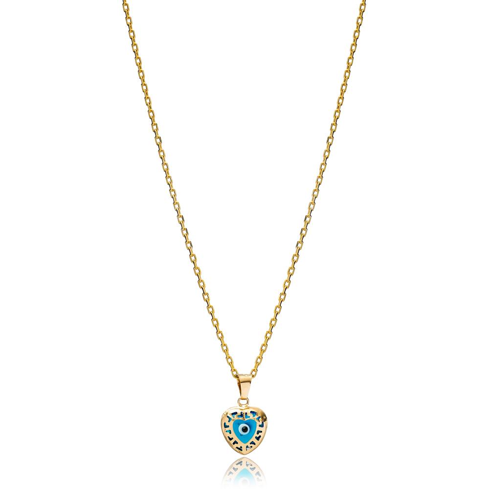 Heart Shape Minimalist Evil Eye Charm Necklace Wholesale Turkish 925 Sterling Silver Jewelry
