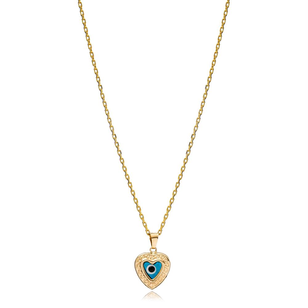 Trendy Heart Shape Evil Eye Charm Necklace Wholesale Turkish 925 Sterling Silver Jewelry