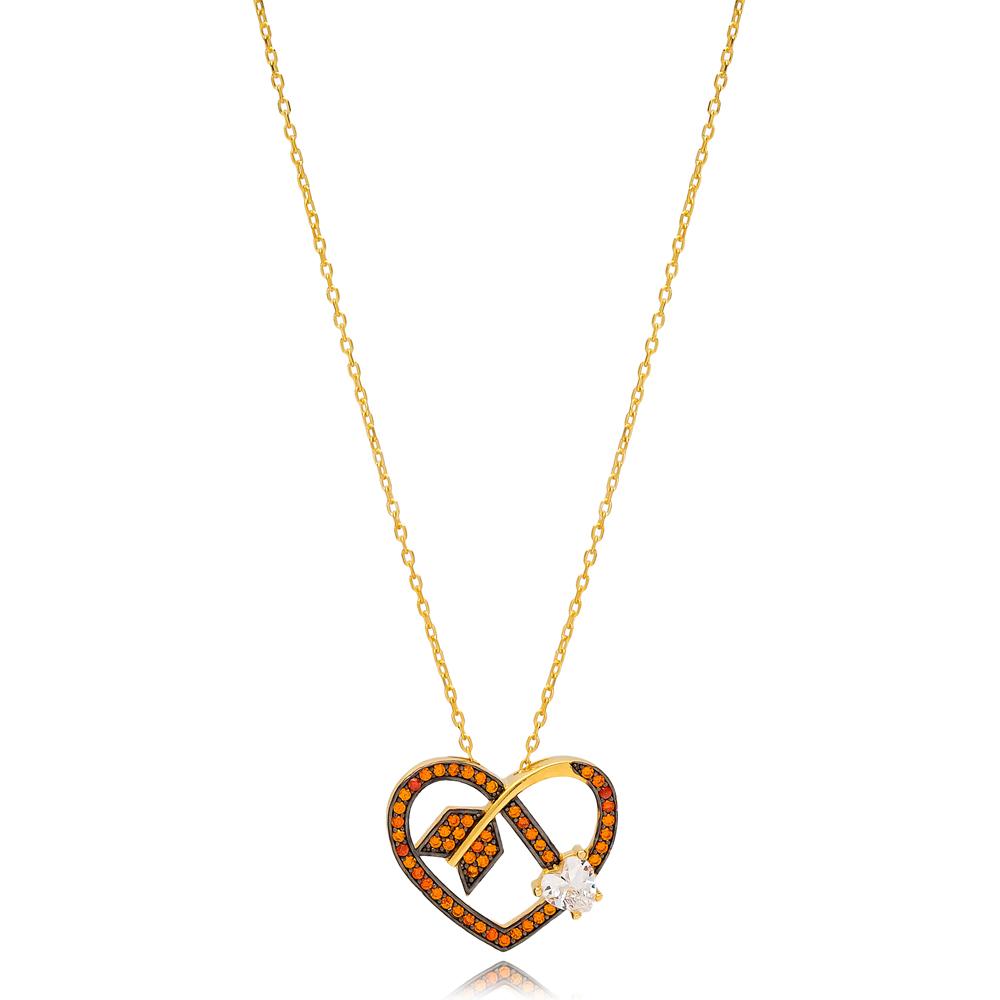 Arrowed Heart Shape Charm Orange Quartz Necklace Wholesale Turkish 925 Sterling Silver Jewelry