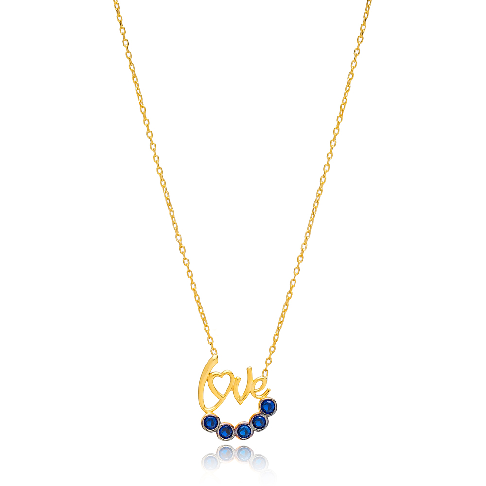 Sapphire Stone Love Letter Design Necklace Wholesale Turkish 925 Sterling Silver Jewelry