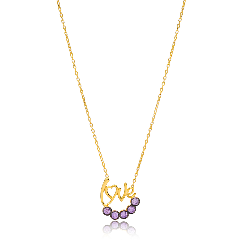 Amethyst Stone Love Letter Design Necklace Wholesale Turkish 925 Sterling Silver Jewelry