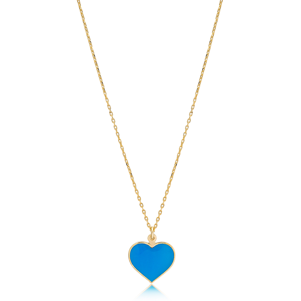 Unique Heart Charm Blue Enamel Necklace Wholesale Turkish 925 Sterling Silver Jewelry