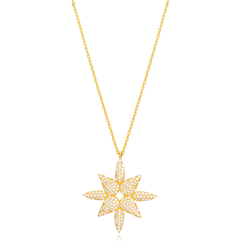 Elegant Zircon Stone Design Charm Necklace Wholesale Turkish Handcrafted 925 Silver Jewelry