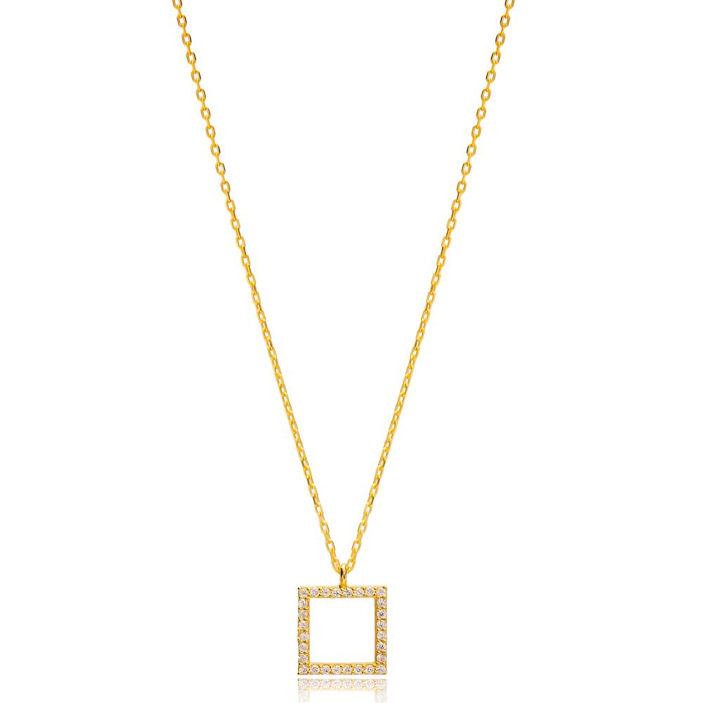 Square Geometric Shape Charm Pendant Turkish Handmade 925 Sterling Silver Jewelry