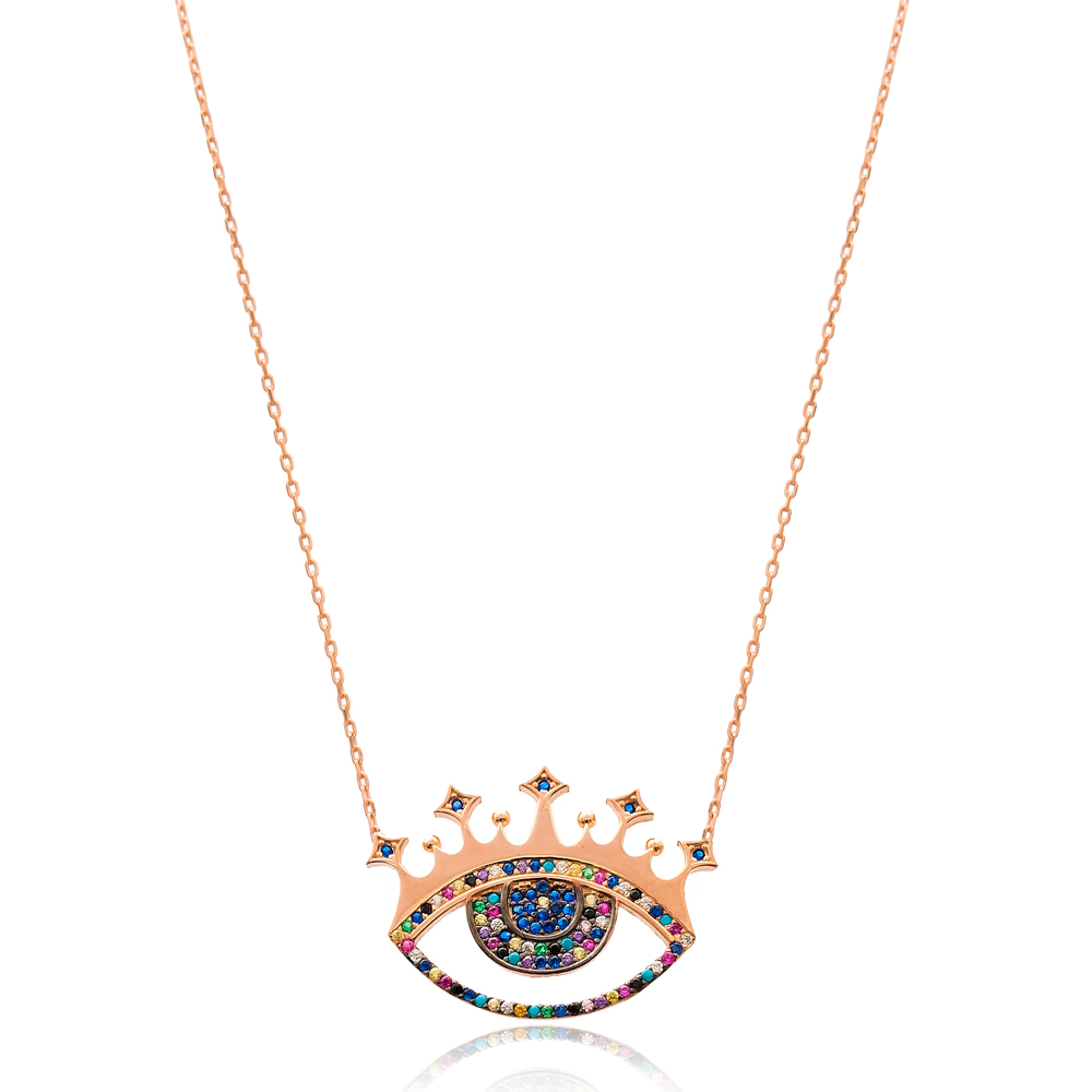 Evil Eye Crown Charm Wholesale Handmade Turkish 925 Silver Sterling Necklace