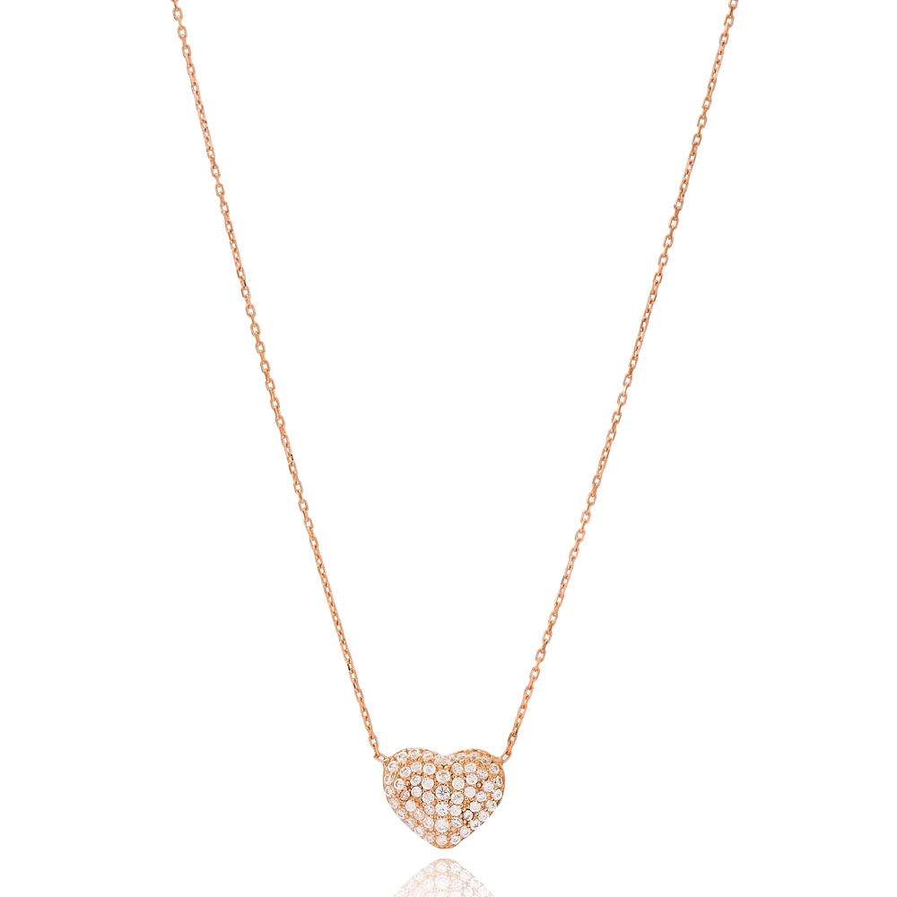 Chubby Heart Charm Elegant Pendant Wholesale 925 Silver Sterling Necklace Jewelry
