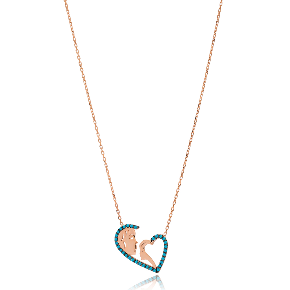 Heart Shape Mom and Baby Charm Wholesale Handmade 925 Silver Sterling Necklace