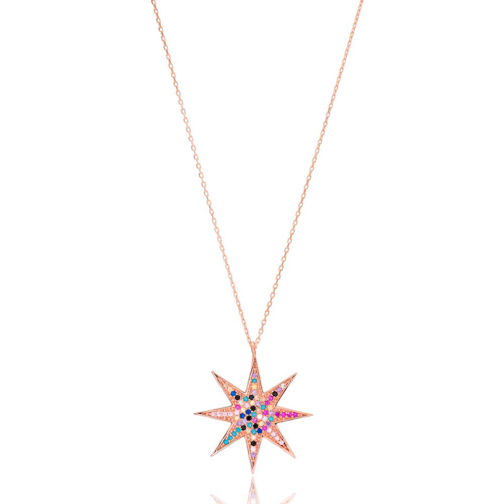 Rainbow Pole Star Design Wholesale Handmade 925 Silver Sterling Necklace