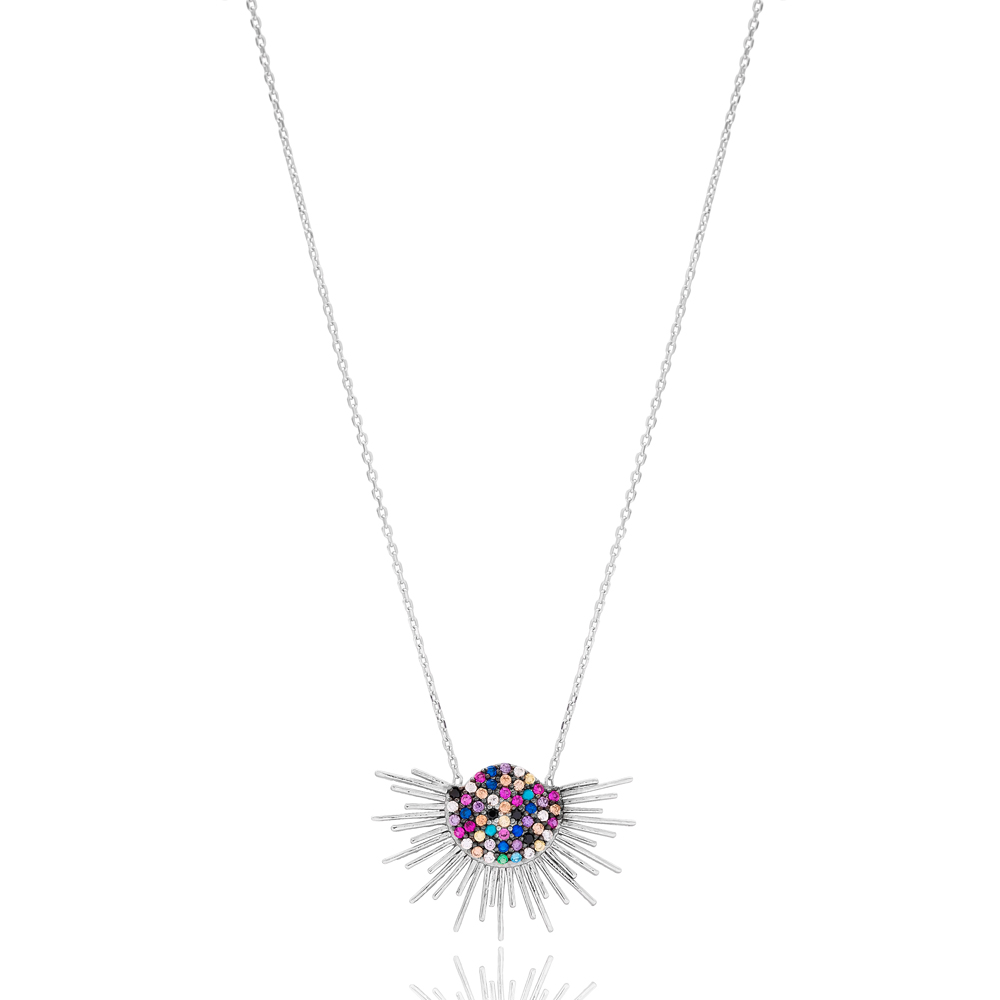 Colorful Half Sun Design Wholesale Handmade 925 Silver Sterling Necklace