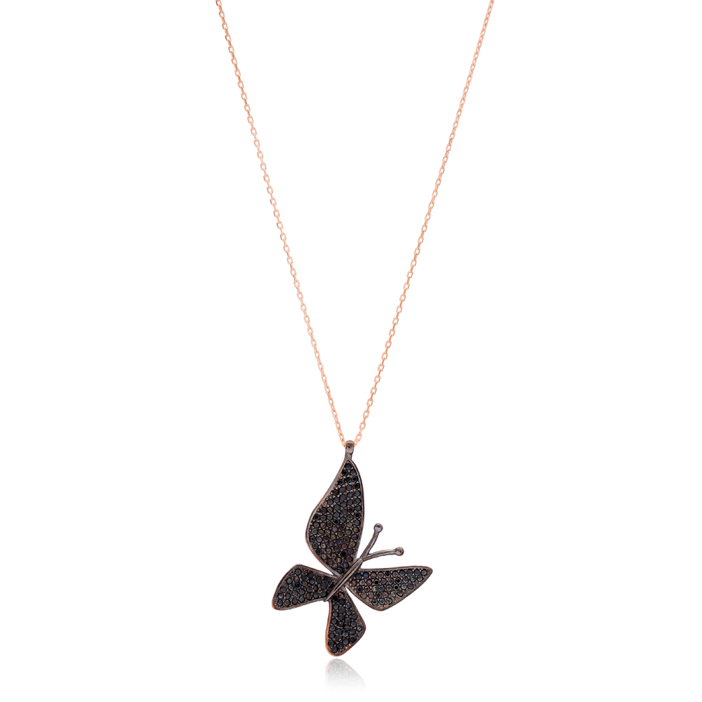 Black Butterfly Charm Necklace Wholesale Handmade 925 Silver Sterling Jewelry