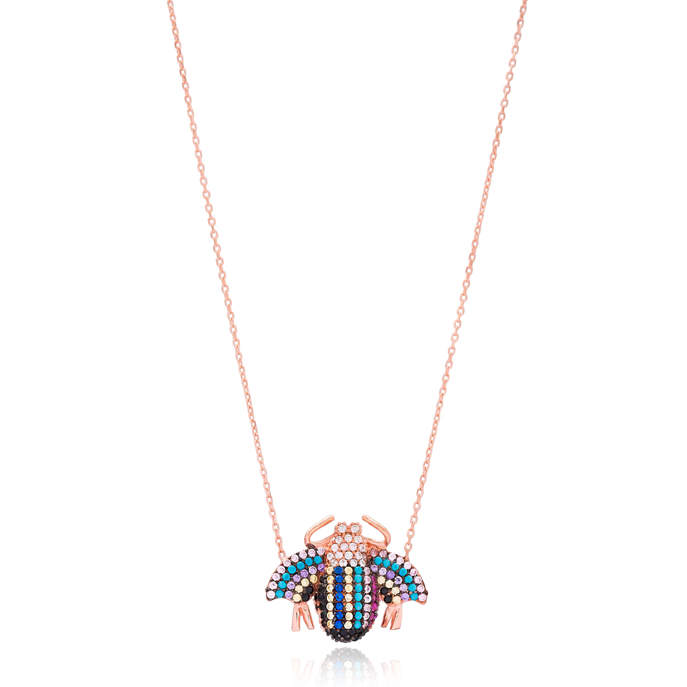 Colorful Ladybug Charm Necklace Wholesale Handmade 925 Silver Sterling Jewelry