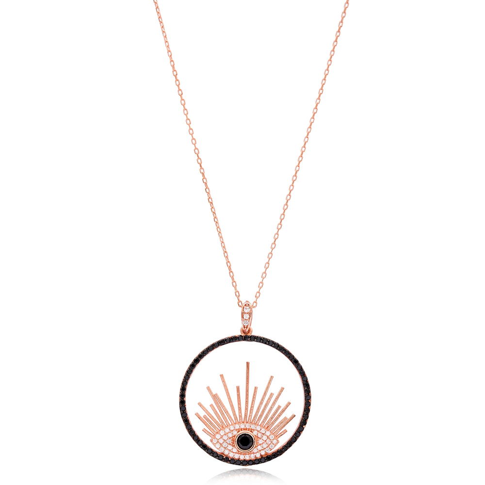 Evil Eye Design Round Shape Wholesale Handmade 925 Silver Sterling Necklace