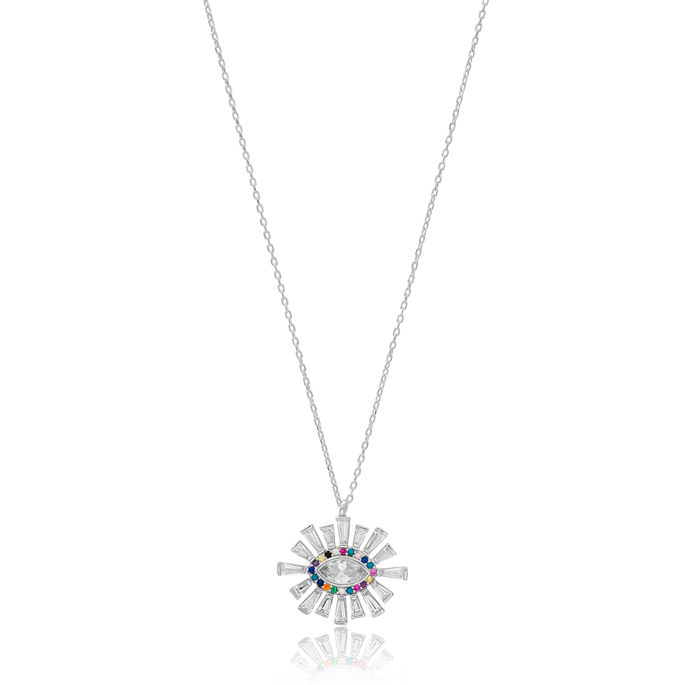 Eye Shape Baguette Stone Necklace Wholesale Handmade 925 Silver Sterling Jewelry